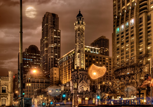 Chicago Water Tower - HDR at night