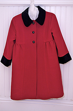 red wool coat buttoned S2534