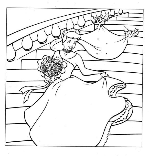 Cinderella Wedding Dress Coloring Page