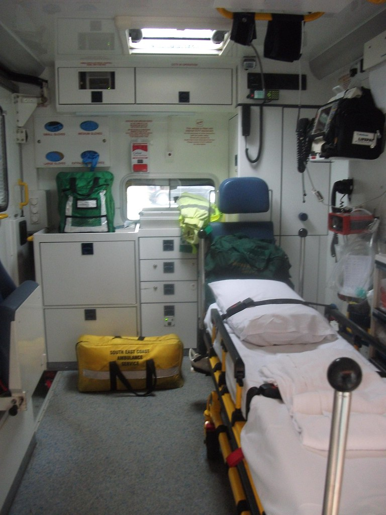 Inside the rear of RX56MTK Mercedes-Benz Sprinter Ambulance at Uckfield Ambulance Station