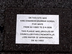 Photo of King Edward VI Grammar School Five Ways and Peter Hollingworth white plaque