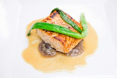 miso marinated Atlantic salmon with shiitake mushrooms, grilled scallions and a miso glaze