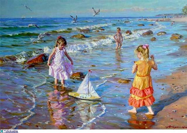 Alexander Averin - Russian artist - Girls on the seashore ...