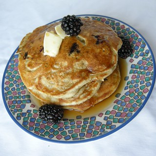 Blackberry buckwheat pancakes