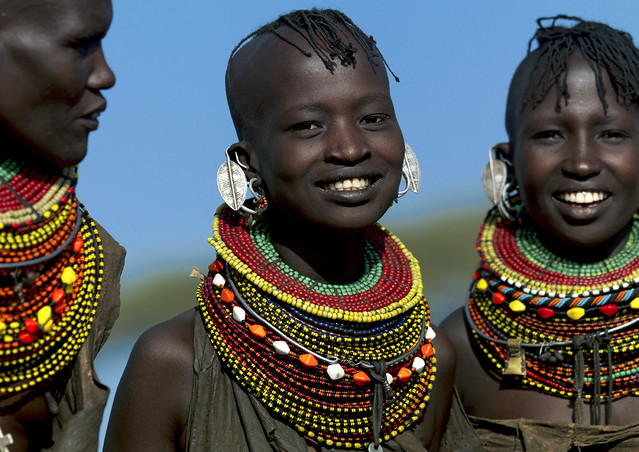 Turkana girls with bead necklaces - Kenya