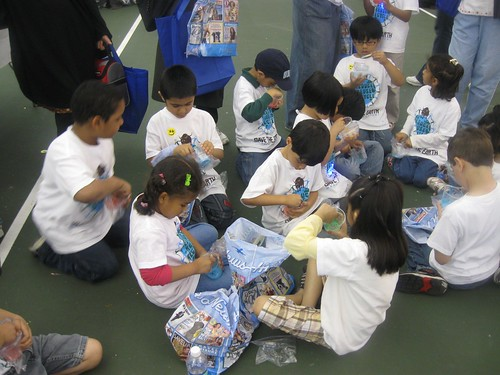 Manara students conductin Earth Day experiments