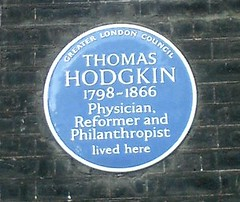 Photo of Thomas Hodgkin blue plaque