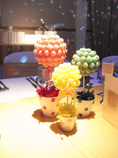 topiarios de caramelos - centro de mesa