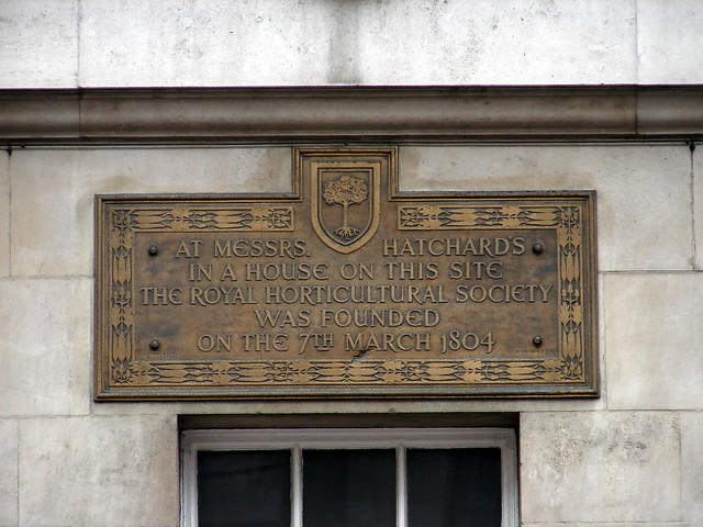 Royal Horticultural Society, John Hatchard, and Hatchards brass plaque - At Messrs. Hatchard's in a house on this site the Royal Horticultural Society was founded on the 7th March 1804