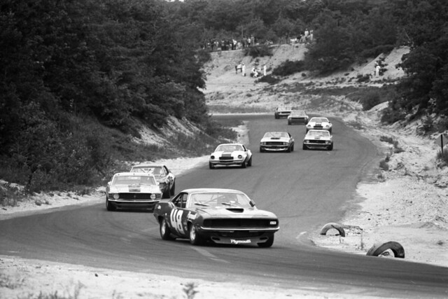 New Car Games >> Dan Gurney driving Plymouth Barracuda race car in Trans-Am Race, Bridgehampton Raceway, New York ...