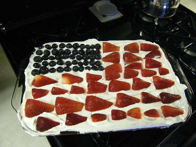 Memorial Day Flag Cake | Angel food cake poked with raspberr ...