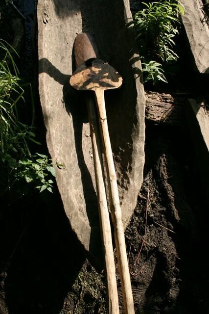 prehistoric log boat and paddles