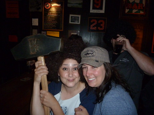 An afro'd Suzy Woods and Wendy, from Dogfsh Head, with the Hammer