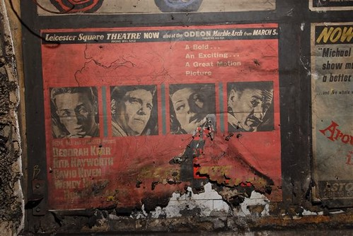 """Separate Tables"" movie film poster from 1959 as found in disused area of Notting Hill Gate tube station, London, 2010"