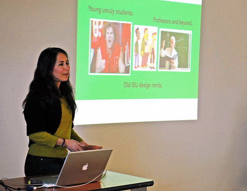 Graphic design alumna Jessica Muniz Witmer presents during 10-year reunion visit