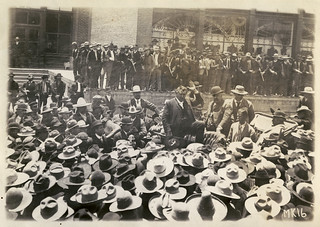 [Colonel William C. Greene addressing crowd of Mexican workers during miners' strike, 1906, Cananea, Mexico]