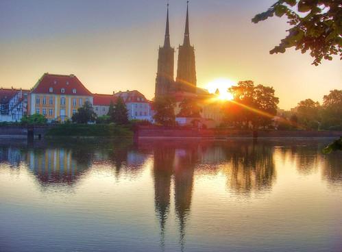 sunrise poland polska hdr wroclaw aurore oder pologne odra chrám