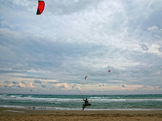 Kitesurfer in the golden