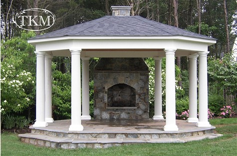 Gazebo plans with fireplace for Outdoor gazebo plans with fireplace