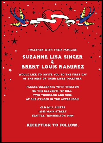 Rockabilly Retro Tattoo Wedding Invitation in red