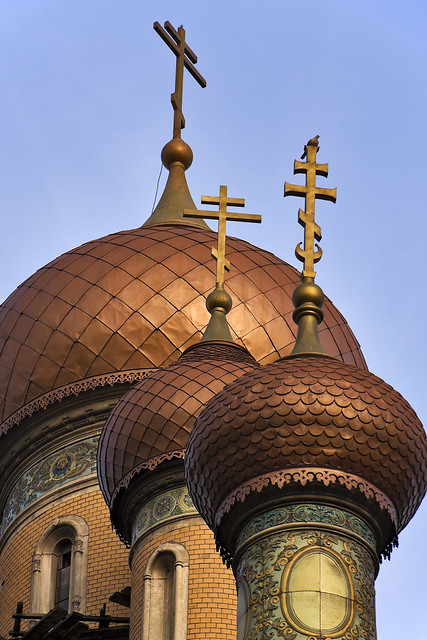 Shiny onion domes from a russian orthodox church