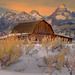 Grand Tetons In Winter, Moulton Barn
