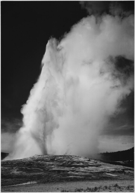 Photograph of Old Faithful Geyser Erupting in Yellowstone National Park