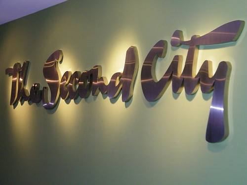 Stainless Steel Lobby Identity Signage - The Second City Chicago