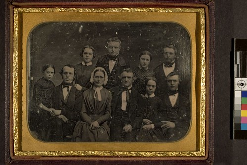 portrait of unidentified family of 5 males and 5 females of various ages