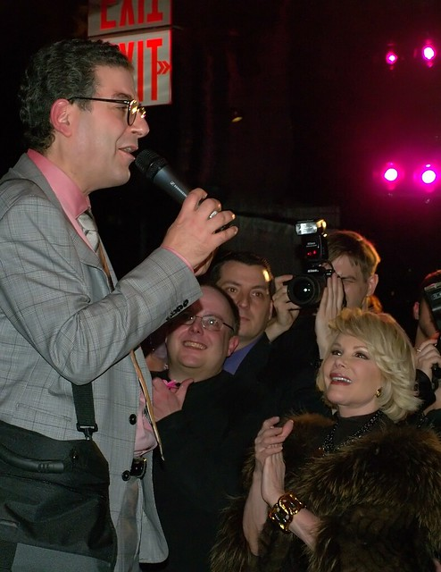 Michael Musto with Joan Rivers at his 25th Anniversary party