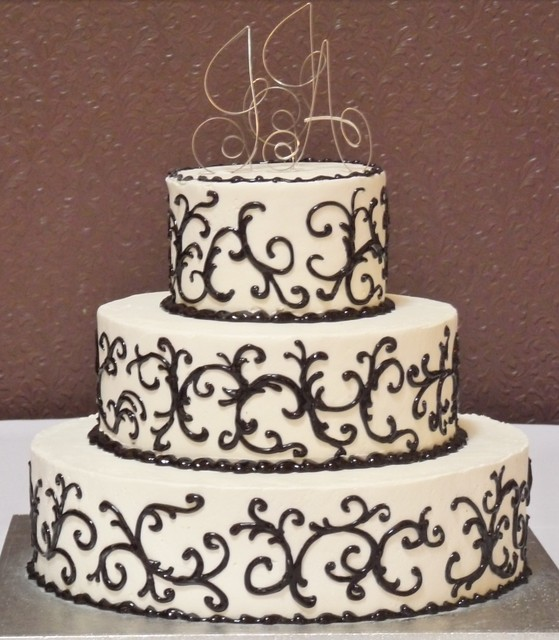 Black And White Swirl Initials Wedding Cake
