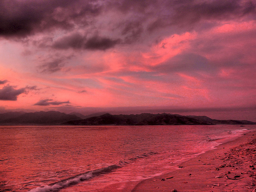 ocean sunset red sea sky mountain beach nature water clouds indonesia sand firey gilimeno rositasoimage