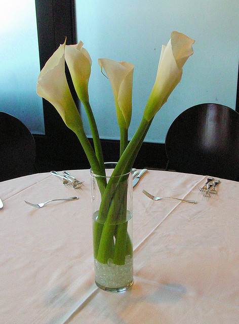 Large White Calla Lily Wedding Reception Centerpiece This tall yet simple
