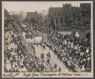 """Eight Hour Procession. 4th October, 1909, With compliments from """"The Star""""."""