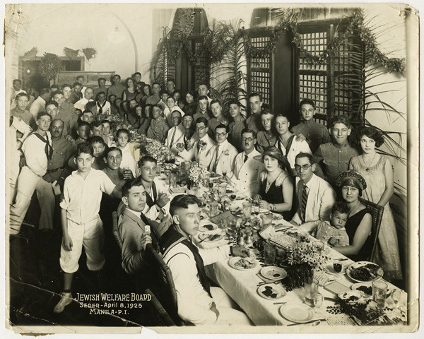 Group portrait of Passover Seder, Manila, Philippines, 1925