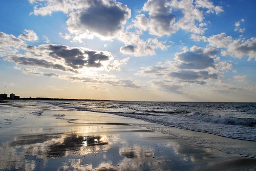 ocean blue sunset sun beach water clouds reflections bay coast virginia sand waves east chesapeake