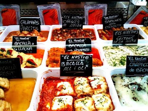 Stand of homemade Catalan favorites, Mercat de la Abacería, Gràcia District