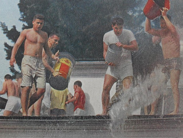 1960s FRATERNITY MEN COLLEGE Shirtless Water Fight Vinta (2)