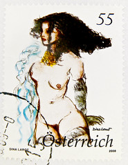 great stamp Austria 55c 0.55€ (painting by Dina Larot) fine art woman female nude sexy girl hot erotic timbre autriche érotique erotico selo Austria francobollo naked woman austria stamp akt sexy stamp österreich Briefmarke postage special issue stamp, 55