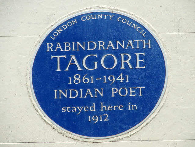 Rabindranath Tagore blue plaque - Rabindranath Tagore 1861-1941 Indian poet stayed here in 1912