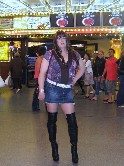 Thigh High Black Leather Boots on Freemont Street
