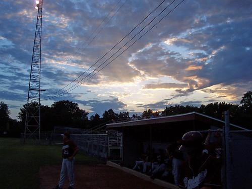 park sunset sky game cold field minnesota night clouds spring colorful baseball amateur dugout springers