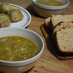 lemon lentil and rice soup (vegan), bread, potatoes