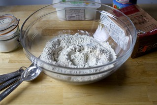 white and whole wheat flours, salt, yeast