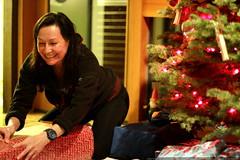grandma neeta wrapping xmas gifts