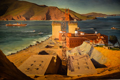 Ray Strong - Golden Gate Bridge 1934 New Deal Painting at Smithsonian American Art Museum