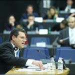 Maroš Šefčovič making his point to MEPs during his hearing