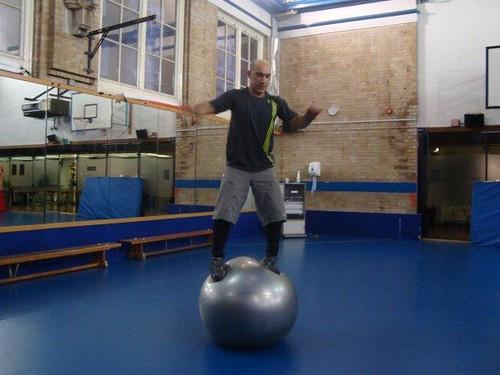 standing on ball