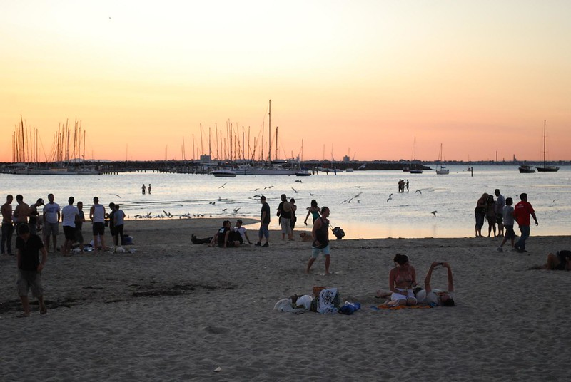 Beachgoers - Sunset at St Kilda Beach