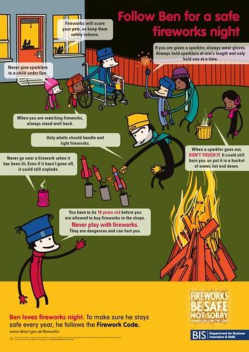 Firework Safety Poster - Follow Ben For A Safe Fireworks Night
